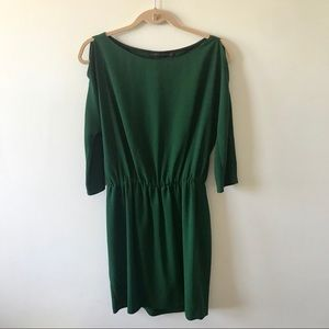 Zara Woman Green Cold Shoulder Split Sleeve Dress